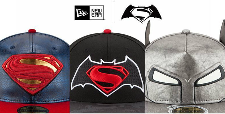Tres gorras New Era representativas de Batman vs Superman