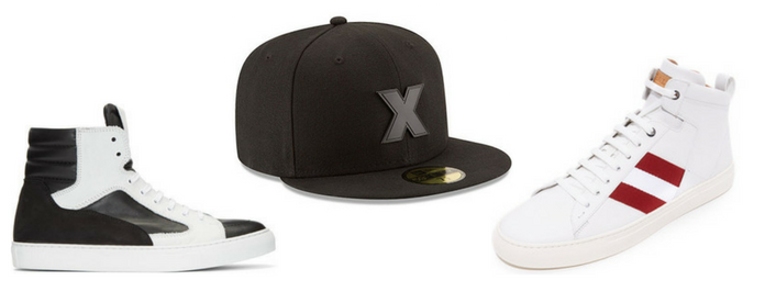 Sneakers high top con gorras New Era