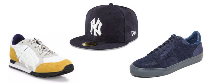 Sneakers de suede con gorras New Era