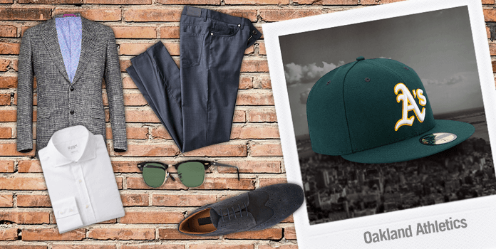 Gorra MLB con blazer y zapatos oxford New Era lifestyle