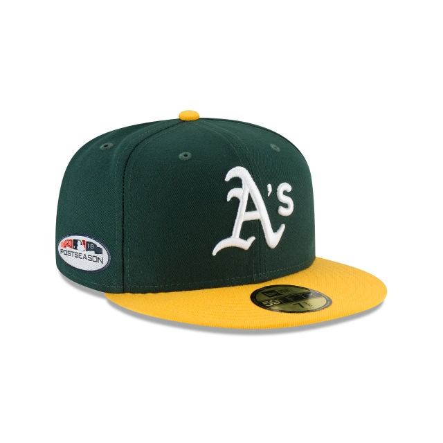 Oakland Athletics Authentic Collection Parche Postseason 2018 59Fifty Cerrada Vista derecha tres cuartos